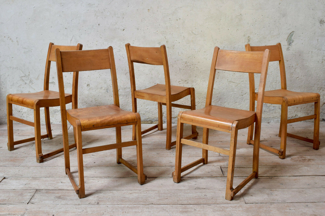 10 Vintage School Stacking Chairs