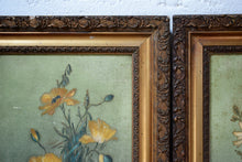 Pair Of Antique Decorative Floral Portrait Oil Paintings