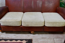 Large French Vintage Leather Sofa