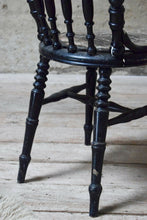Antique Victorian Spindle Back Turned Leg Black Chair