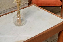 Vintage Teak Coffee Table Wtih Marble Top