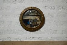 Antique Arts And Crafts Brass Frame Convex Mirror