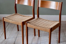 Set of 4 Mid Century Danish Paper Cord Dining Chairs