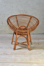 Vintage Italian Round Bamboo Cane Wicker Occasional Chairs