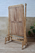 Antique Large French Victorian Faux Bamboo Cheval Mirror