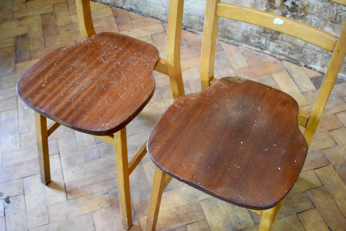 4 Vintage Oak Chaple Stacking Chairs