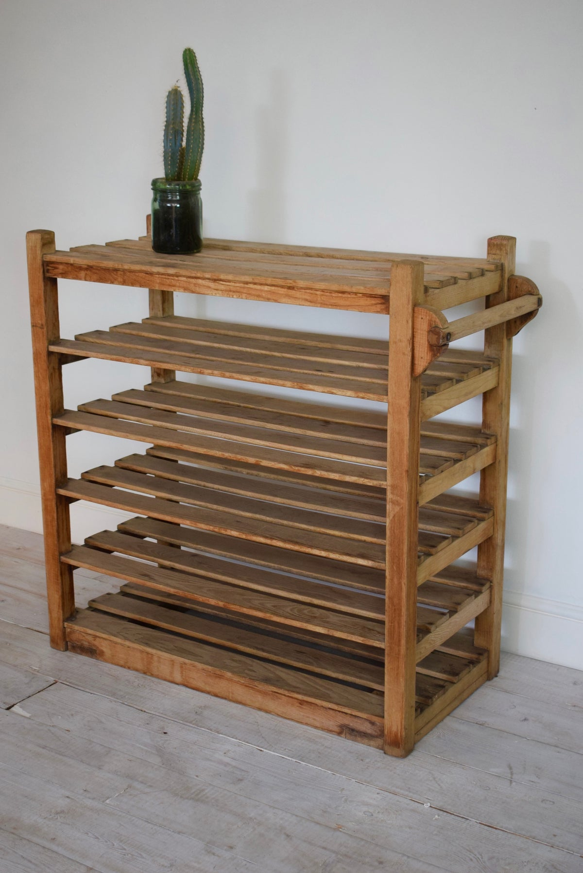 Industrial Antique Oak Shelving Potters Trolley