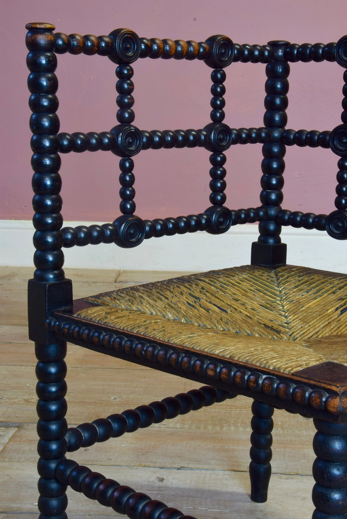 Antique 19th Century Arts and Crafts Bobbin Turned Corner Chair