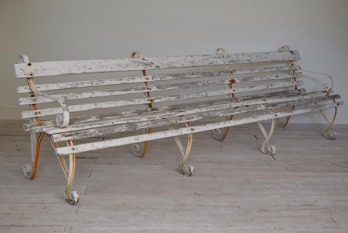Antique 3 Meter Wrought Iron Garden Bench From Dover Port