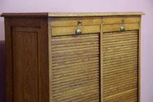 Vintage French Light Oak Double Tambour Front Filing Cabinet