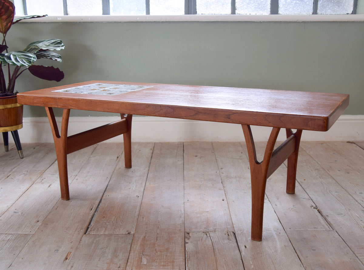 Danish Teak And Tile Mid-Century Coffee Table By Trioh
