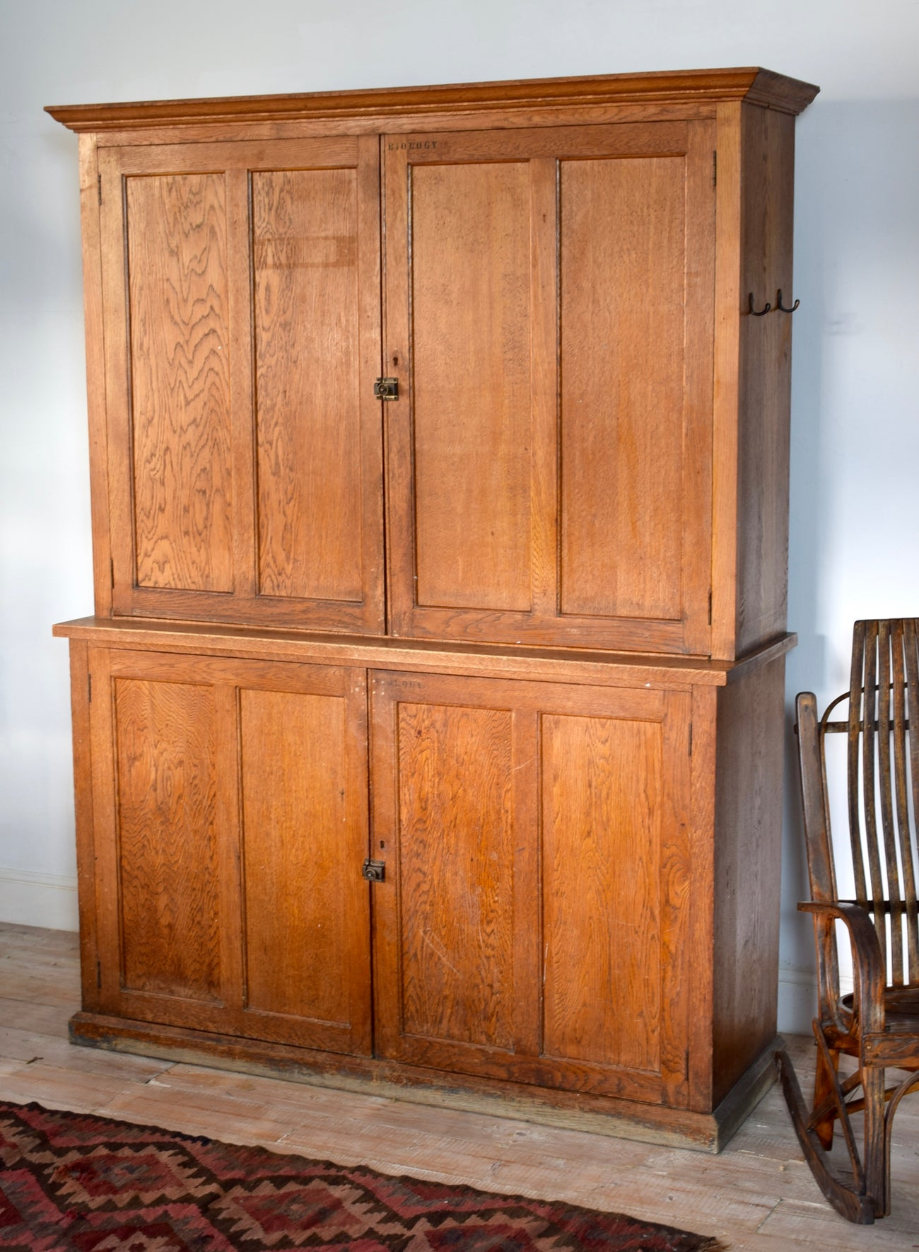 Antique Large Oak School Cabinet