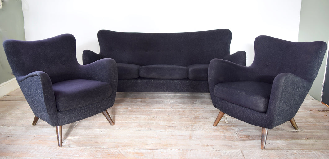 Danish Mid Century 3 Piece Suite Sofa Set