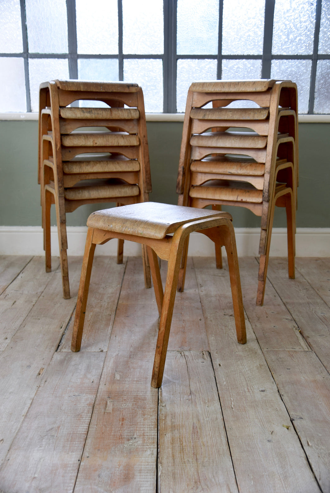 Vintage Plywood Industrial Stacking Stools 1960s