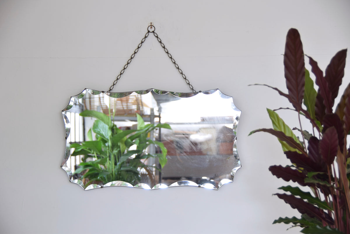 Rectangular Shaped Bevelled Edged Mirror With Chain