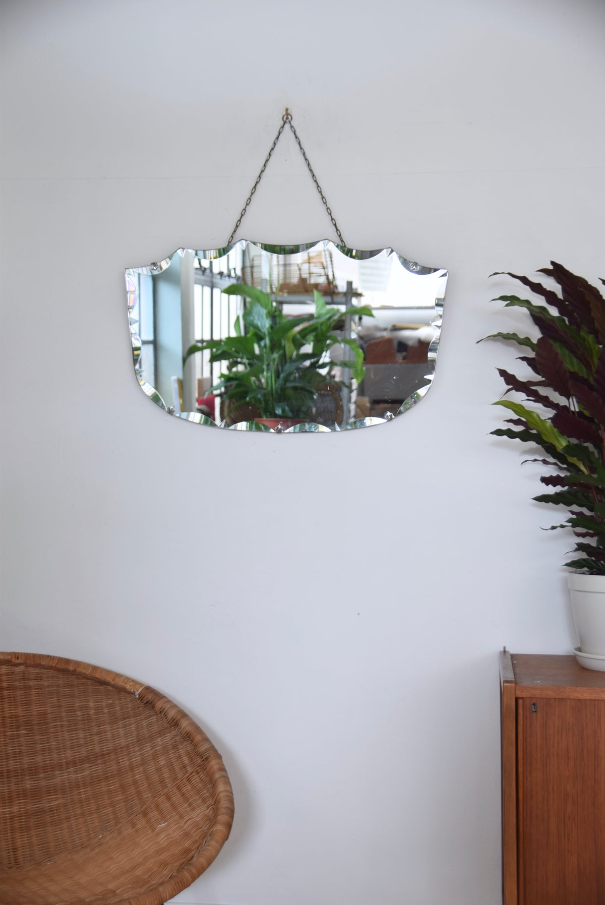 Frameless Bevelled Edged Mirror With Chain
