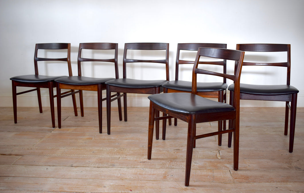 6 Danish Rosewood Dining Chairs By Henning Kjaernulf