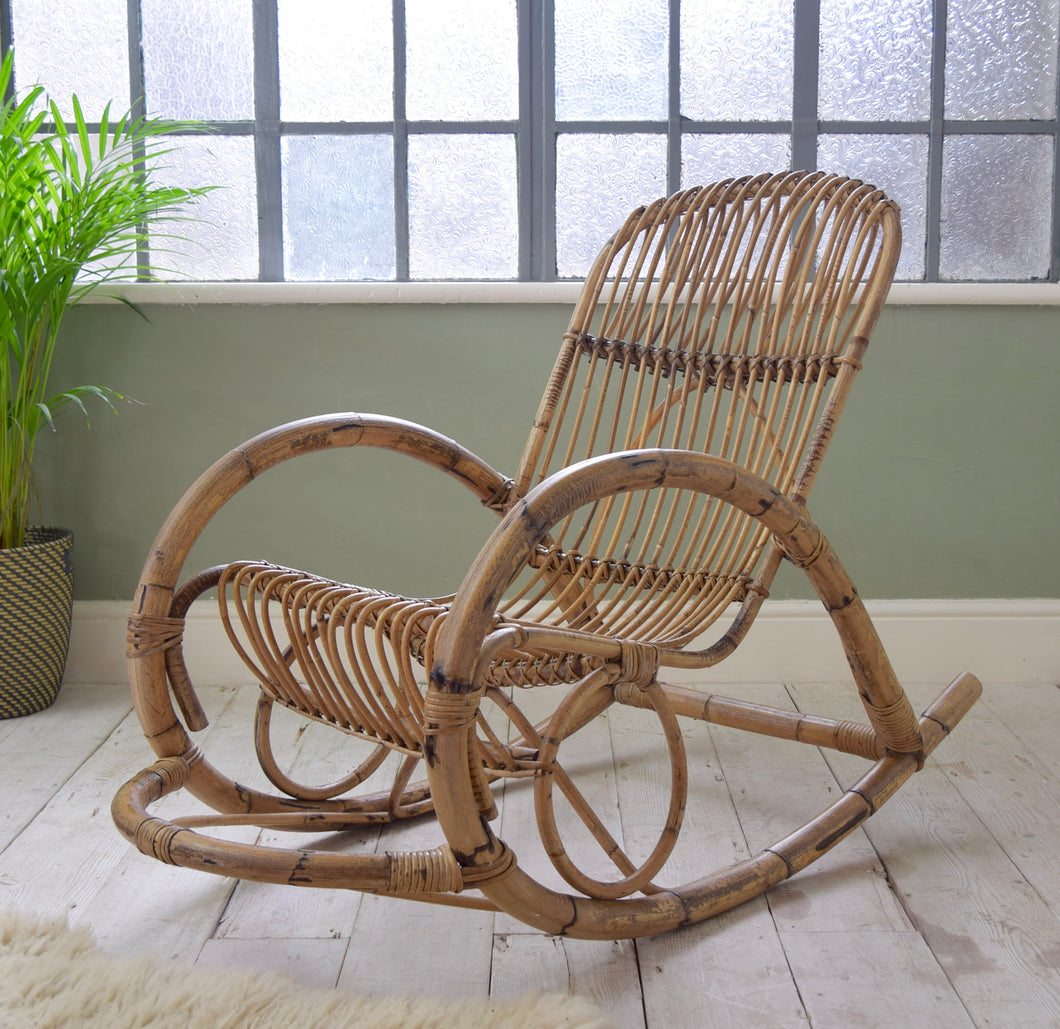Franco Albini Style Wicker Rocking Chair