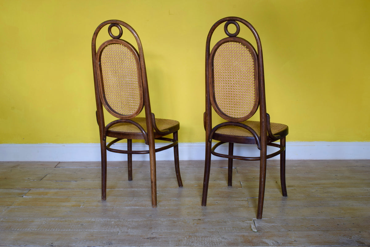 Pair Of Bent Wood Thonet Model 17 Dining Chairs