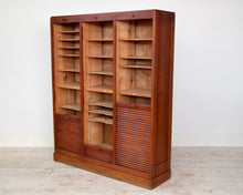 Vintage French Triple Front Oak Tambour Cabinet