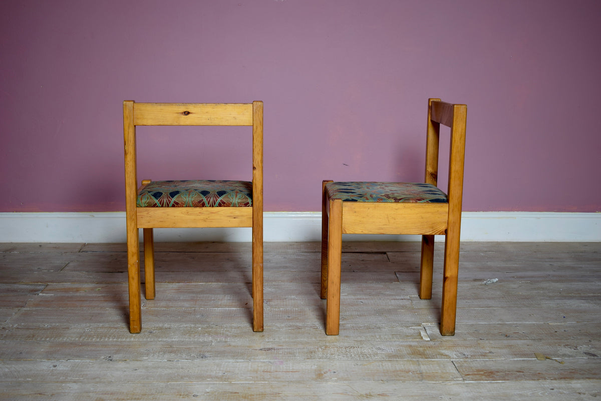 Set Of Pine Mid Century Modernist Dining Chairs