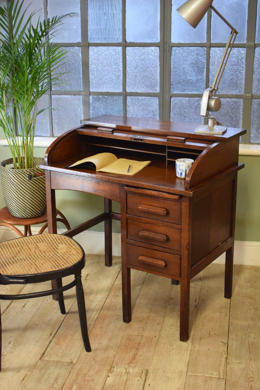 Antique Roll Top Pedestal Desk