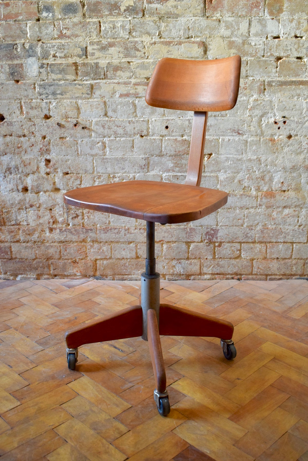 Swiss 1950s Vintage Industrial Office Chair By Stoll Giroflex
