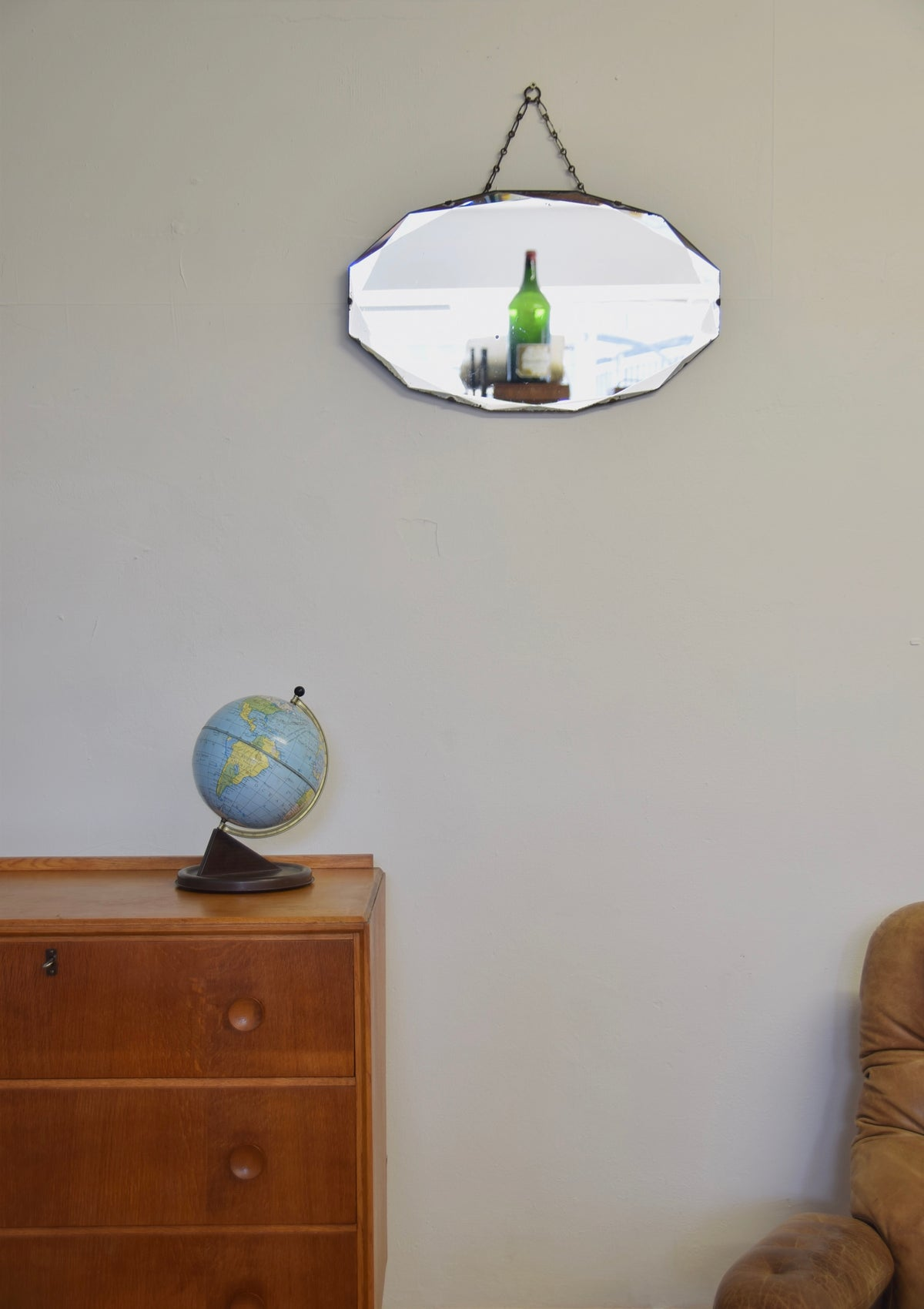 Oval Shaped Mirror Bevelled Edged