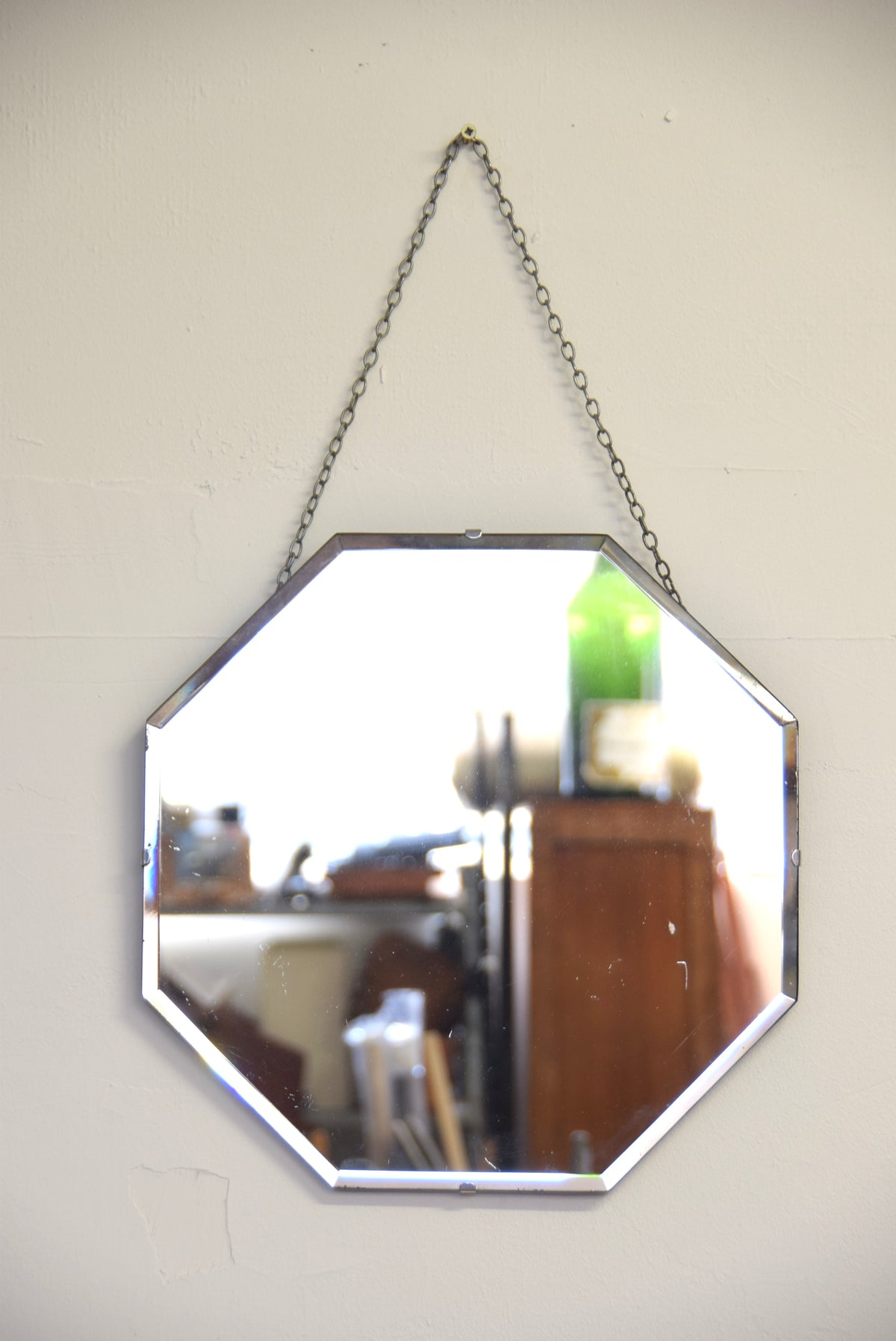 Octagonal Shaped Mirror Bevelled Edged With Chain