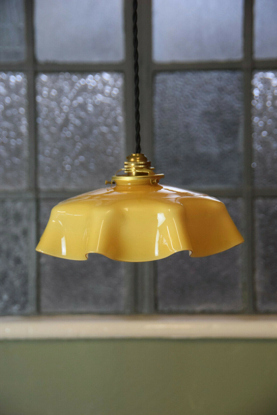 French Yellow Vintage Pendant Light Shade