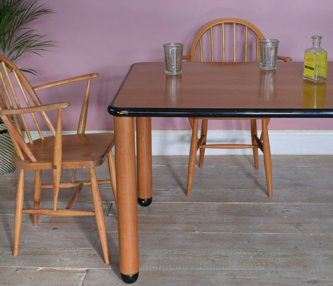 Large Vintage Dining Table Mid Century Style