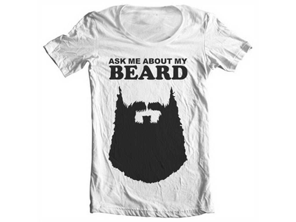 Ask Me About My Beard Wide Neck Tee