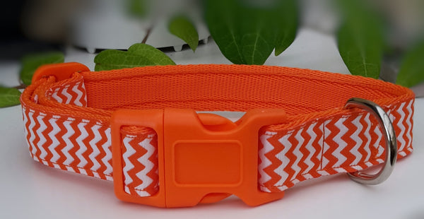 Orange, White Zig Zag Dog Collar / Lead