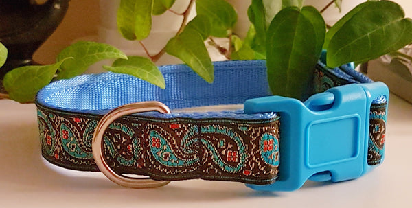 Turquoise Paisley Dog Collar / Lead