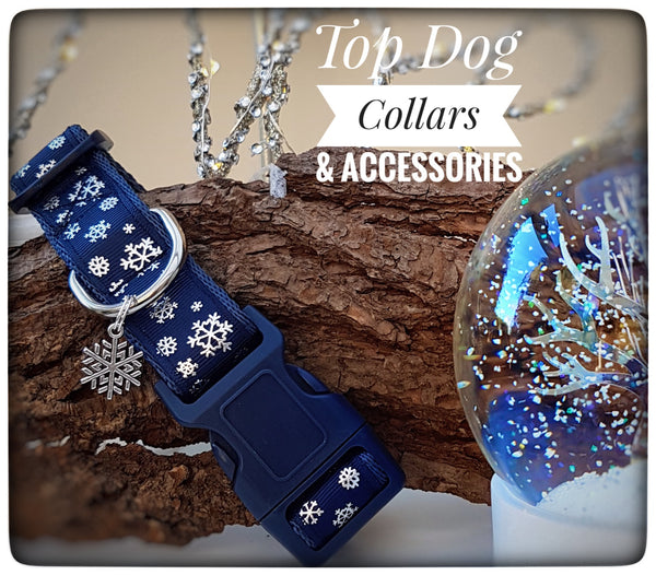 Navy Snowflake printed Dog Collar