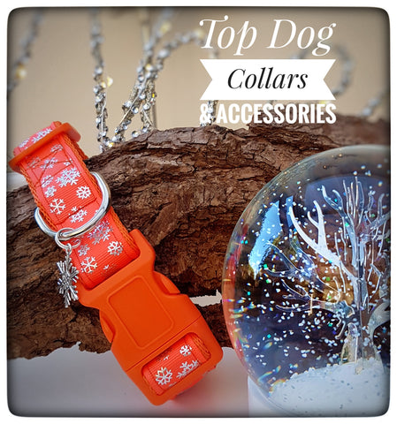 Orange Snowflake printed Dog Collar