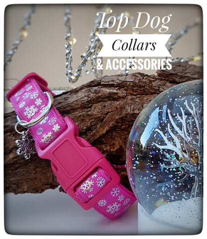 Hot Pink Snowflake printed Dog Collar
