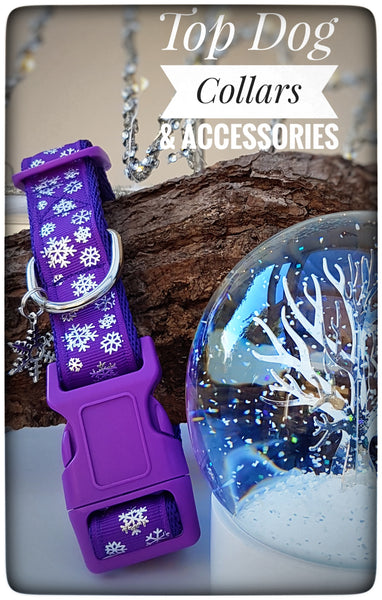 Purple Snowflake printed Dog Collar
