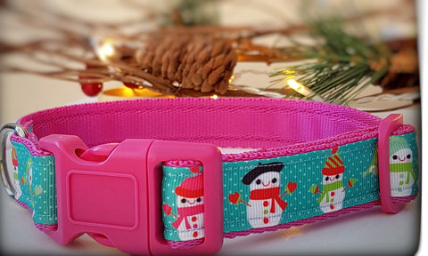 Snowman on Turquoise Dog Collar