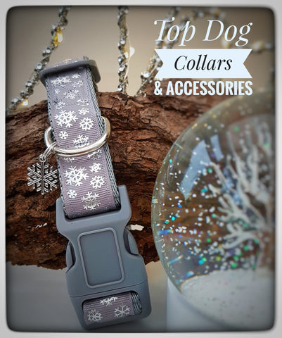 Grey Snowflake printed Dog Collar