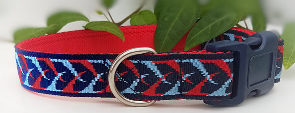 Blue / Red Plait Dog Collar / Lead