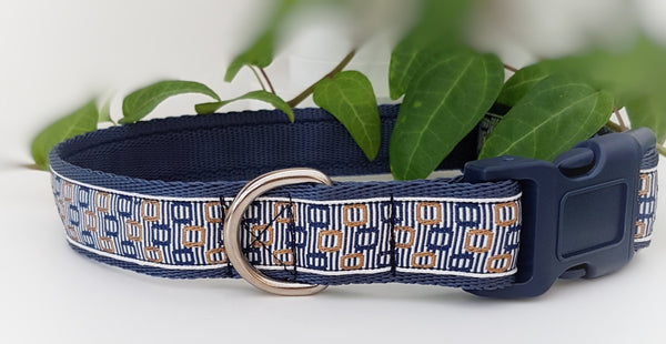 Blue & Gold Geometric squares Dog Collars & Leads