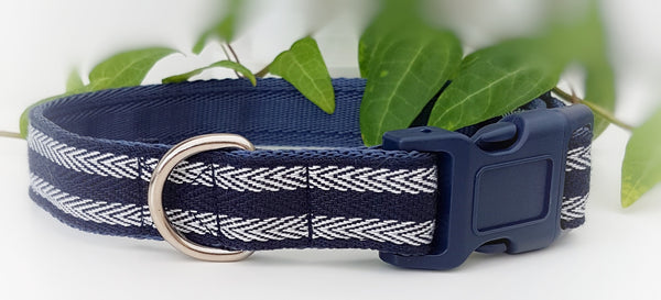 Navy Herringbone Dog Collar / Lead