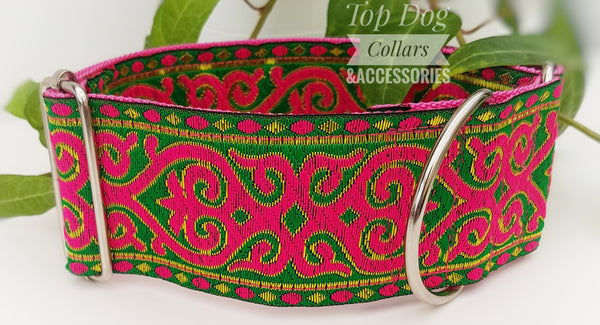"Pink Scroll 2"" Wide buckleless Collars"