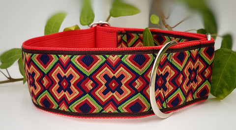 "Red Retro pattern 2"" Wide Collars"