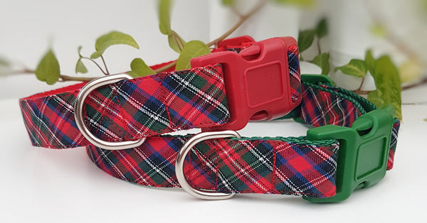 Red, Blue, Green, White Tartan Dog Collar / Lead