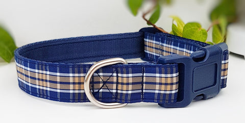 Blue Check Dog Collars & Leads