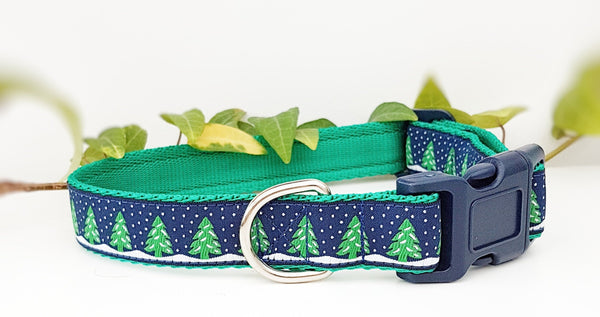 Blue Sky Christmas Trees Dog Collars & Leads