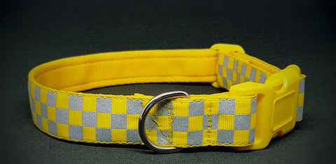 Yellow Chequered Reflective Dog Collar