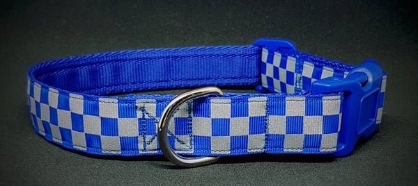 Blue Chequered Reflective Dog Collar